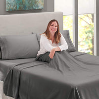 Nestl Bedding Soft Sheets Set 4 Piece Bed Sheet Set 3Line Design Pillowcases Easy Care Wrinkle Free Good Fit Deep Pockets Fitted Sheet Free Warranty Included Full XL Gray gD5-B07612NV2J