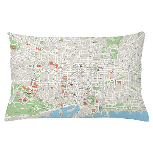 Ambesonne Map Throw Pillow Cushion Cover Map of Barcelona City Streets Parks Subdistricts Points of Interests Decorative Rectangle Accent Pillow Case 26 X 16 Lime Green