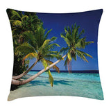 Ambesonne Landscape Throw Pillow Cushion Cover Tropic Botanic Sandy Beach Island with Coconut Palm Trees Seaside Print Decorative Square Accent Pillow Case 24 X 24 Aqua Blue