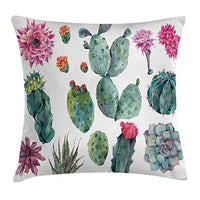 Ambesonne Nature Throw Pillow Cushion Cover Desert Botanical Herbal Cartoon Style Cactus Plant Flower with Spikes Print Decorative Square Accent Pillow Case 16 X 16 Green Pink