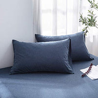 LIFETOWN 100 Jersey Cotton Pillowcases Queen Pillowcase Set of 2 Super Soft and Breathable Queen Navy Blue t5R-B07FM15XRK