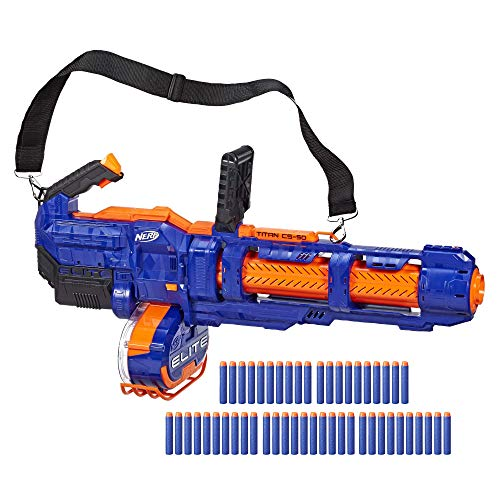 NERF Elite Titan CS50 Toy Blaster Fully Motorized 50Dart Drum 50 Official Elite Darts Spinning Barrel for Kids Teens Adults