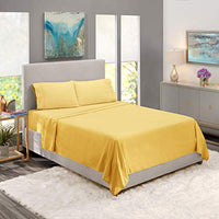 Nestl Bedding Soft Sheets Set 4 Piece Bed Sheet Set 3Line Design Pillowcases Wrinkle Free 812 Good Fit Low Profile Fitted Sheet Warranty Included RV Short Queen Light Yellow 7JZ-B07BK6YG2G