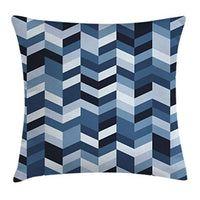Ambesonne Navy Throw Pillow Cushion Cover Soft Pastel Toned Modern Herringbone Pattern with Zigzag Twisty Stripes Image Decorative Square Accent Pillow Case 18 X 18 Coral Green