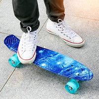 ENKEEO Skateboards 22 Inches Skateboard Complete Cruiser Plastic Banana Board with Bendable Deck and Smooth PU Casters for Kids Boys Youths Beginners 220 Ibs urB-B078JZJJDQ