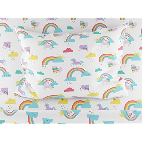 Where the Polka Dots Roam Rainbows and Unicorn Twin Size Sheets 3 Piece Sheet Set for Girls Ultra Soft Microfiber hfY-B07N2ZXW6C