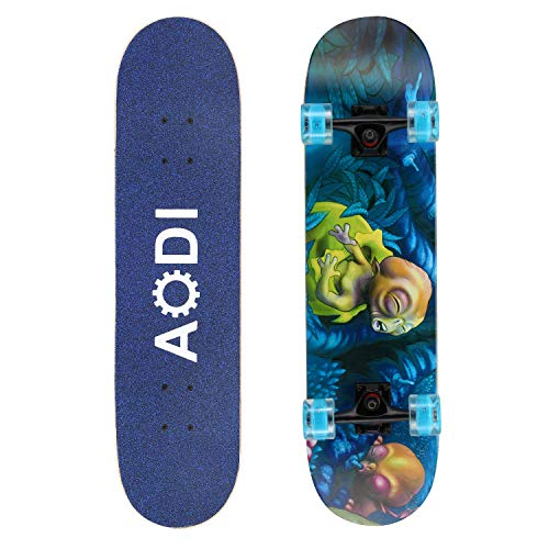 SANSIRP Skateboard Merkapa 31 Complete Skateboards Standard with Colorful LED Light Up Wheels 7 Layers Maple Wood Deck for Kids Boys Girls Adults Beginners HCL-B07V3PGSNN