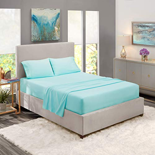 Nestl Bedding Soft Sheets Set 4 Piece Bed Sheet Set 3Line Design Pillowcases Wrinkle Free 1016 Good Fit Deep Pockets Fitted Sheet Warranty Included Full XL Light Baby Blue sYX-B07612Z327