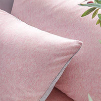 LIFETOWN 100 Jersey Cotton Pillowcases Queen Pillowcase Set of 2 Super Soft and Breathable Queen PinkGrey Off White Stripes 2M7-B07FM58VG2