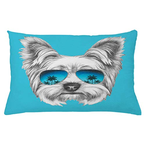 Ambesonne Yorkie Throw Pillow Cushion Cover Yorkshire Terrier Portrait with Cool Mirror Sunglasses Hand Drawn Animal Art Decorative Rectangle Accent Pillow Case 26 X 16 White Blue