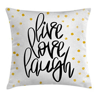 Ambesonne Live Laugh Love Throw Pillow Cushion Cover Hand Lettering on Dotted Backdrop Inspirational Phrase Decorative Square Accent Pillow Case 20 X 20 Charcoal White