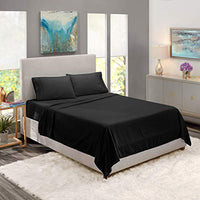 Nestl Bedding Soft Sheets Set 4 Piece Bed Sheet Set 3Line Design Pillowcases Easy Care Wrinkle Free 812 Fit Low Profile Fitted Sheet Warranty Included RV Short Queen Black yKp-B07BHQ2YXY
