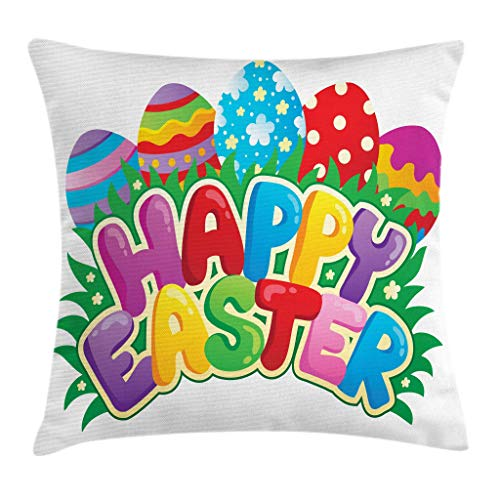 Ambesonne Easter Throw Pillow Cushion Cover Cartoon Style Ornamental Eggs with Polka Dots Flowers and Stripes Happy Easter Words Decorative Square Accent Pillow Case 24 X 24 Green Red
