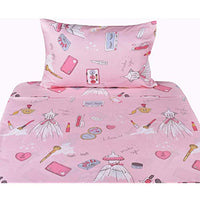 Jpinno Girl Princess Party Make Up Dress Up Pink Twin Sheet Set for Kids Girl Children100 Cotton Flat Sheet + Fitted Sheet + Pillowcase Bedding Set 3b3-B07GP4FKP8