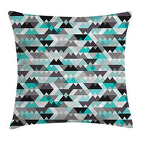 Ambesonne Grey and Turquoise Throw Pillow Cushion Cover Futuristic Geometric Mosaic Design with Triangles and Zig Zags Decorative Square Accent Pillow Case 24 X 24 Turquoise Black