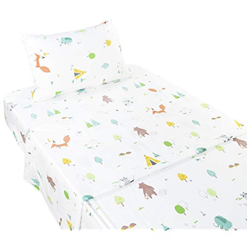 Scientific Sleep Forest Fox Elephant Animals Soft Sheets Set Twin 100 Microfiber Polyester Bedding Sheet Set for Girls Gift 1 Twin 8mA-B07BFT11QZ