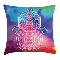 Ambesonne Hamsa Throw Pillow Cushion Cover Colorful Watercolor Background with Hand Drawn Eastern Mantra Gentle Swirls Decorative Square Accent Pillow Case 24 X 24 Pastel Rainbow