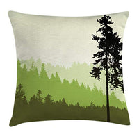 Ambesonne Nature Throw Pillow Cushion Cover Nature Theme Pine Tree Silhouette on an Abstract Style Background Decorative Rectangle Accent Pillow Case 26 X 16 Lime Beige