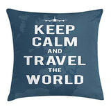 Ambesonne Keep Calm Throw Pillow Cushion Cover Travel The World Words on a Faded Map of United Kingdom and a Plane Silhouette Decorative Square Accent Pillow Case 18 X 18 White Blue