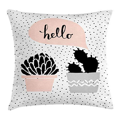 Ambesonne Cactus Throw Pillow Cushion Cover Dotted Backdrop with 2 Hand Drawn Plants Having a Conversation Speech Bubble Decorative Square Accent Pillow Case 16 X 16 Blush Black