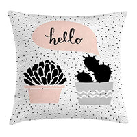 Ambesonne Cactus Throw Pillow Cushion Cover Dotted Backdrop with 2 Hand Drawn Plants Having a Conversation Speech Bubble Decorative Square Accent Pillow Case 20 X 20 Blush Black
