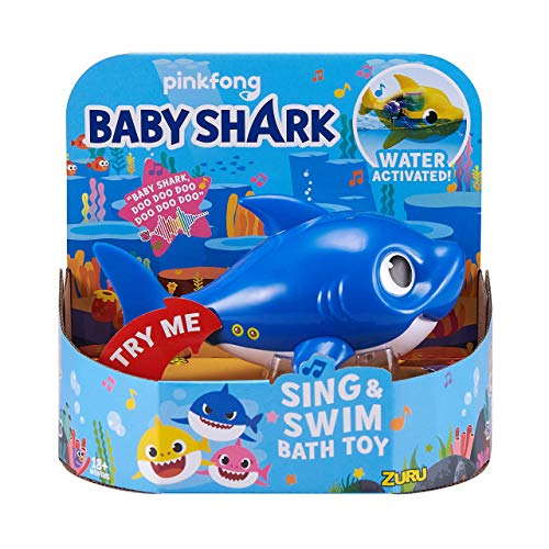 Robo Alive Junior Baby Shark BatteryPowered Sing and Swim Bath Toy by ZURU Daddy Shark Blue 3QC-B07NH955G3