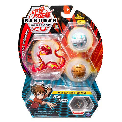 Bakugan Starter Pack 3 Pack Pyrus Fangzor Collectible Transforming Creatures for Ages 6 Up 80V-B07GTB3H8W