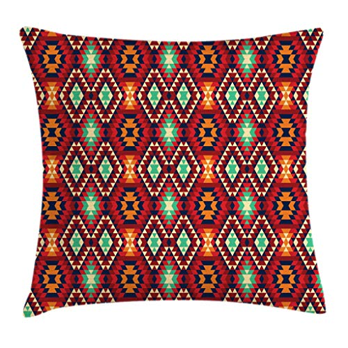 Ambesonne Tribal Throw Pillow Cushion Cover Geometric Triangle Motif Zig Zag Folk Art Style Print Decorative Square Accent Pillow Case 16 X 16 Orange Teal