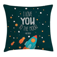 Ambesonne I Love You Throw Pillow Cushion Cover Rocket on The Road of Space Adventurist Cosmic Couples Happy Birthday Theme Decorative Square Accent Pillow Case 18 X 18 Dark Pine
