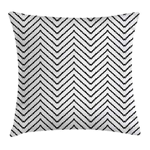 Ambesonne Modern Throw Pillow Cushion Cover Geometric Triangle Shapes Zig Zag Triggering Lines Minimalist Pattern Print Decorative Rectangle Accent Pillow Case 26 X 16 Black and White