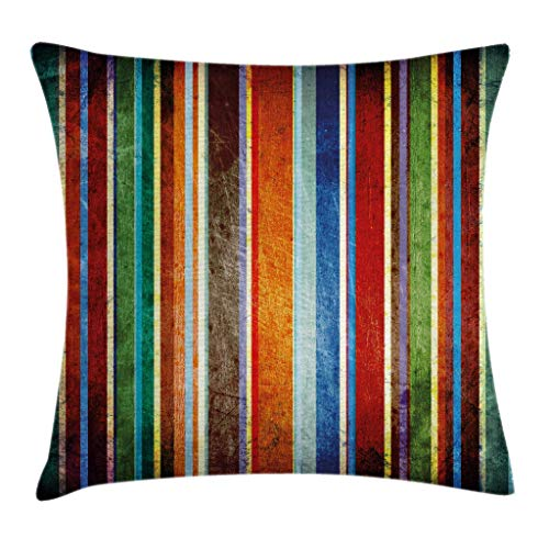 Ambesonne Stripes Throw Pillow Cushion Cover Vertical Lines Colorful Retro Bands Damage Effects Old Fashion Weathered Display Decorative Rectangle Accent Pillow Case 26 X 16 Red Green