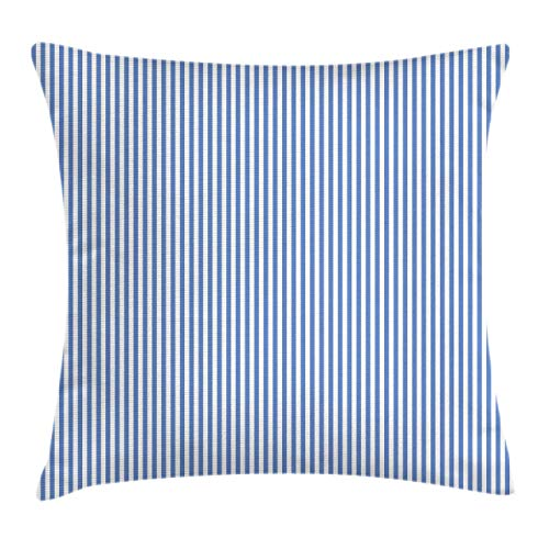 Lunarable Pinstripe Throw Pillow Cushion Cover Nautical Concept Sailor Style Blue and White Simple Minimalist Stripes Decorative Square Accent Pillow Case 16 X 16 Azure Blue