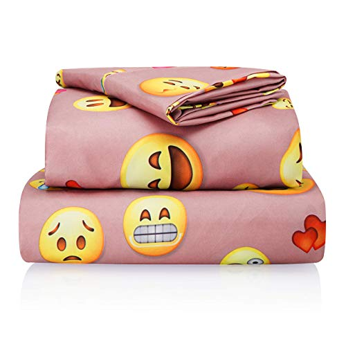 Chital Full Bed Sheets for Girls | 4 Pc Colorful Kids Bedding Set | Pink Emoji Print | Durable SuperSoft DoubleBrushed Microfiber | 1 Flat 1 Fitted Sheet 2 Pillow Cases | 15 Deep RDY-B07L8NCY4R