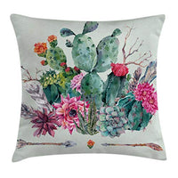 Ambesonne Cactus Throw Pillow Cushion Cover Spring Garden with Boho Style Bouquet of Thorny Plants Blossoms Arrows Feathers Decorative Square Accent Pillow Case 24 X 24 White Pearl