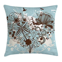 Ambesonne Grunge Throw Pillow Cushion Cover Murky Floral Dragonfly Background with Swirls and Petal Retro Graphic Decorative Square Accent Pillow Case 20 X 20 Chestnut Brown