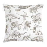 Ambesonne Jurassic Throw Pillow Cushion Cover Arrangement of Various Dinosaurs Illustrations Skeleton Biology Historic Decorative Square Accent Pillow Case 20 X 20 Dark Brown