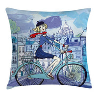 Ambesonne Paris Throw Pillow Cushion Cover Young Woman with French Hat and Funny Cat on Bicycle in Paris Street Watercolor Decorative Square Accent Pillow Case 20 X 20 Pale Lavender