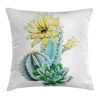 Ambesonne Cactus Throw Pillow Cushion Cover Vector Image with Watercolored Cactus with Spikes and Alluring Flowers Print Decorative Square Accent Pillow Case 24 X 24 Blue and White