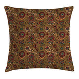 Ambesonne Paisley Throw Pillow Cushion Cover Vintage Inspired Multicolored Leaf Flower Motif in Earth Tones Print Decorative Square Accent Pillow Case 24 X 24 Pale Brown