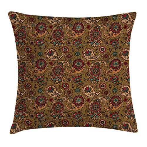 Ambesonne Paisley Throw Pillow Cushion Cover Vintage Inspired Multicolored Leaf Flower Motif in Earth Tones Print Decorative Square Accent Pillow Case 18 X 18 Pale Brown
