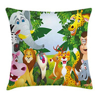 Ambesonne Nursery Throw Pillow Cushion Cover Group of Safari Jungle Animals with Funny Expressions Savannah Mascots Decorative Square Accent Pillow Case 18 X 18 Forest Green