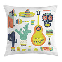 Ambesonne Fiesta Throw Pillow Cushion Cover Mexico Guitar Face Aztec Mask Tequila Skull Musical Instruments Taco Decorative Rectangle Accent Pillow Case 26 X 16 Avocado Green
