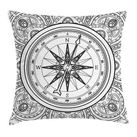 Ambesonne Compass Throw Pillow Cushion Cover Hand Drawn Windrose in Line Art Style Nautical Illustration Coloring Book Design Decorative Square Accent Pillow Case 20 X 20 White Charcoal