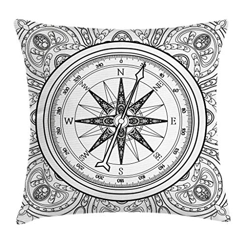 Ambesonne Compass Throw Pillow Cushion Cover Hand Drawn Windrose in Line Art Style Nautical Illustration Coloring Book Design Decorative Square Accent Pillow Case 18 X 18 White Charcoal