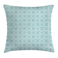 Ambesonne Aqua Throw Pillow Cushion Cover Sun Flower with Dots Geometric Vintage Hippie Round Art Image Decorative Square Accent Pillow Case 24 X 24 Seafoam White