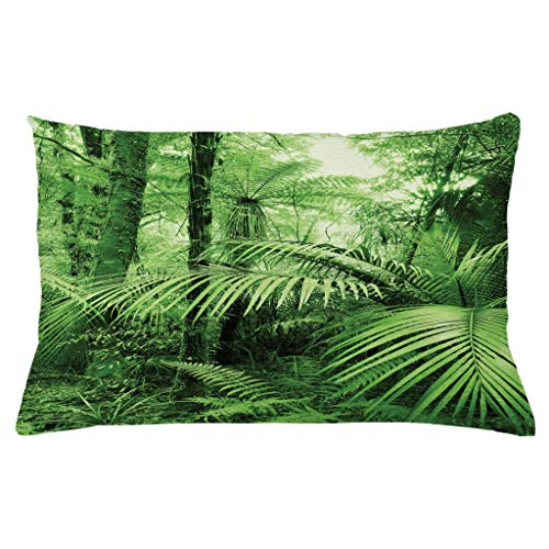 Ambesonne Rainforest Throw Pillow Cushion Cover Palm Trees and Exotic Plants in Tropical Jungle Wild Nature Theme Illustration Decorative Rectangle Accent Pillow Case 26 X 16 Green