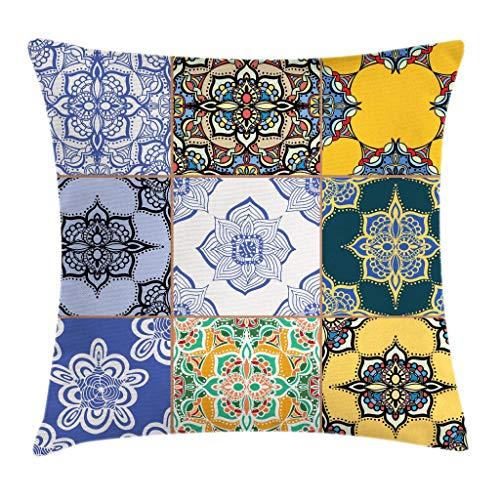 Ambesonne Moroccan Throw Pillow Cushion Cover Portuguese Tile Patterns Various Tones Textures Bohemian Print Decorative Square Accent Pillow Case 20 X 20 Ivory Yellow