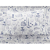 Where the Polka Dots Roam Sports Sheet Set Twin Size with Basketball Football Tennis Hockey Baseball Soccer in Blue and White Rtf-B07PX8GT93