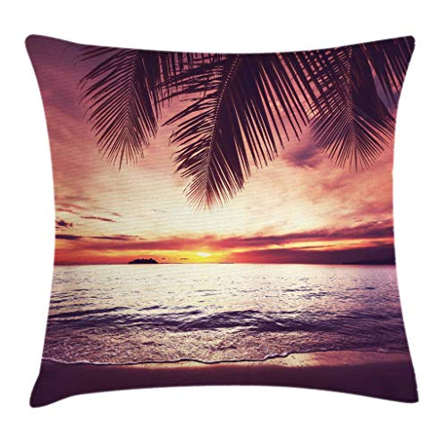 Ambesonne Palm Tree Throw Pillow Cushion Cover Tropical Beach Under Shadows at Sunset Ocean Waves Serenity of Paradise in Nature Decorative Square Accent Pillow Case 20 X 20 Yellow