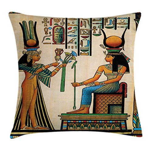 Ambesonne Egyptian Throw Pillow Cushion Cover Old Egyptian Papyrus Depicting Queen Nefertari with Historical Empire Artwork Decorative Square Accent Pillow Case 20 X 20 Beige Orange